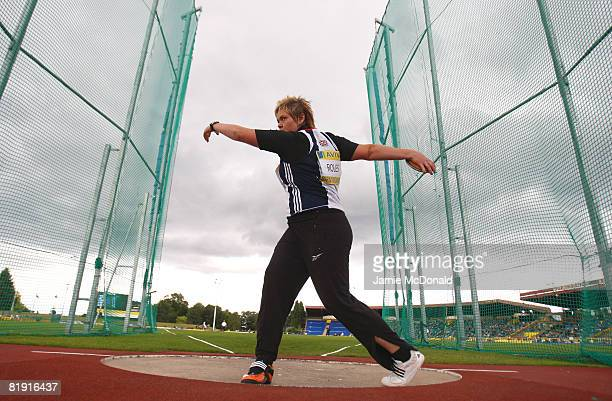 Philippa Roles of Great Britain throws during the Discus final during the Aviva National Championships Olympic Trials at Alexander Stadium on July 12...