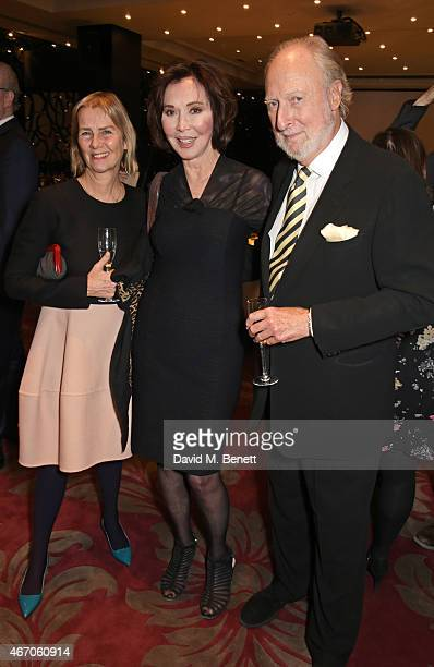 Philippa Walker Carol Victor and Ed Victor attend the Mel Brooks BFI Fellowship Dinner at The May Fair Hotel on March 20 2015 in London England