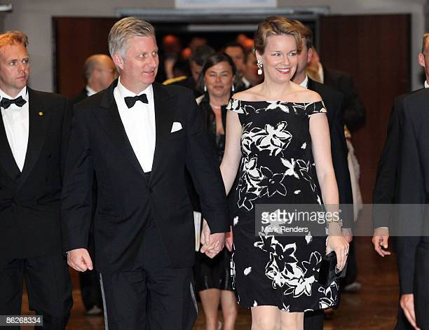 Philippe and Princess Mathilde of Belgium attend a gala evening in support of the King Baudouin Foundation at the Antwerp Provincial House on April...
