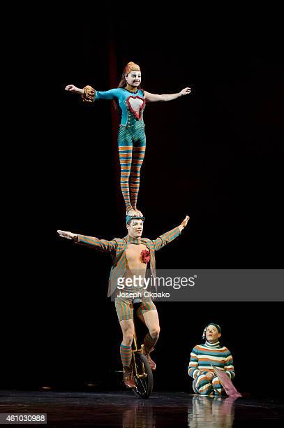 Philippe Belanger and MarieLee Guilbert perform the unicycle duo act during the dress rehearsal for Kooza by Cirque Du Soleil at Royal Albert Hall on...