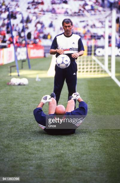 Philippe Bergeroo and Fabien Barthez of France before the Soccer World Cup semi final match between France and Croatia on July 08th 1998 in Paris...