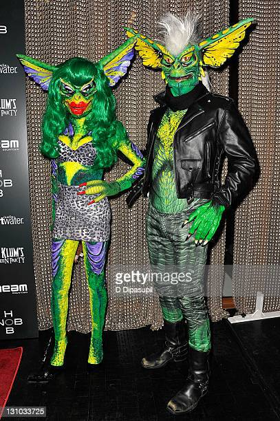 Philippe Blond and David Blond attend Heidi Klum's 12th annual Halloween party at the PHD Rooftop Lounge at Dream Downtown on October 31 2011 in New...