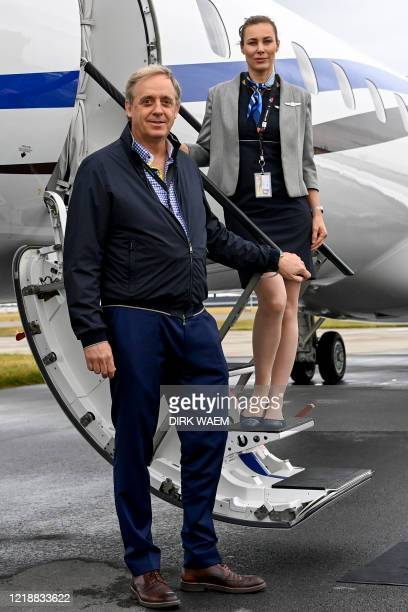 Philippe Bodson pictured during a test flight of the 'Asl Fly Executive' program of ASL Group offering luxurious flights Tuesday 09 June 2020 flying...