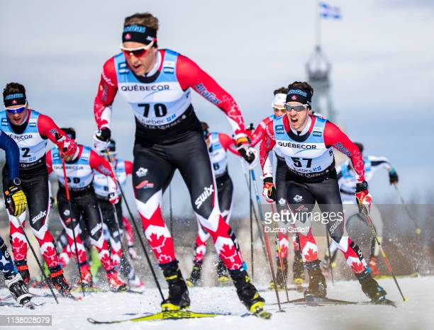 Philippe Boucher of Canada competes in the Men's 15km freestyle pursuit during the FIS Cross Country Ski World Cup Final on March 24, 2019 in Quebec...