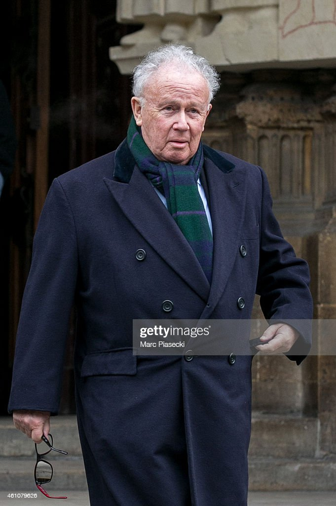 Philippe Bouvard leaves the funeral of journalist Jacques Chancel at Saint-Germain-des-Pres church on January 6, 2015 in Paris, France.