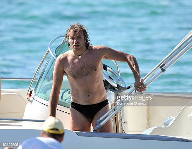 Philippe Candeloro and family on vacation at Breganc on during his holidays on July 30 2008 in BormeslesMimosas France