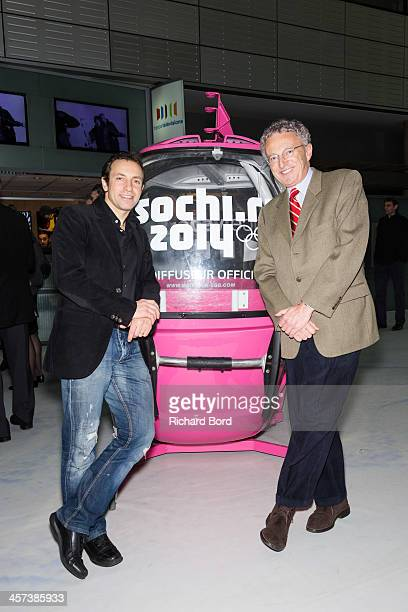 Philippe Candeloro and Journalist Nelson Monfort attend the presentation of French TV France Television's staff members who will cover the 2014 Sochi...
