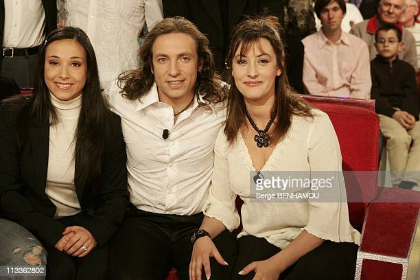 Philippe Candeloro On Vivement Dimanche Tv Show On February 7Th 2005 In Paris France Sarah Abitbol Philippe And Olivia Candeloro