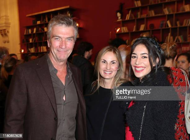 Philippe Caroit, Flavia Coste and Fanny Valette are photographed for Paris Match at the evening gala for the tv serie Palace at the Theatre de Paris...