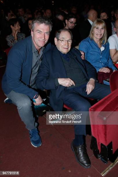 Philippe Caroit Robert Hossein and his wife Candice Patou attend the Patrick et ses Fantomes Theater Play at Casino de Paris on April 17 2018 in...