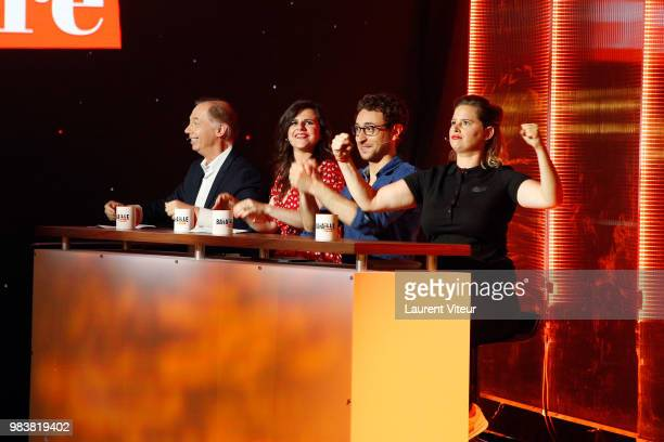 Philippe Chevalier Laura Domenge Sebastian Marx and Elodie Poux attend 'La Bataille du Rire' TV Show at Theatre de la Tour Eiffel on June 25 2018 in...
