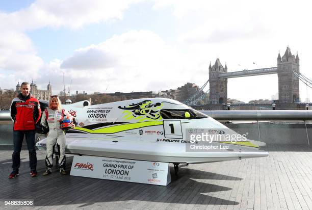 Philippe Chiappe Professional powerboat driver and Marit Stromoy Professional powerboat driver pose for a photo with the CTIC F1 Shenzhen China boat...