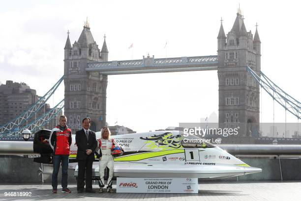 Philippe Chiappe Professional powerboat driver Mr Li Hajoie Chairman of Tian Rong Sports and Marit Stromoy Professional powerboat driver pose for a...