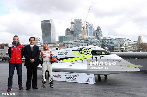 Philippe Chiappe Professional powerboat driver Mr Li Haojie Chairman of Tian Rong Sports and Marit Stromoy Professional powerboat driver pose for a...