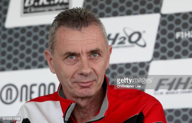 Philippe Chiappe Professional powerboat driver speaks to the media during a press conference during the UIM F1H2O Grand Prix Of London Launch in...