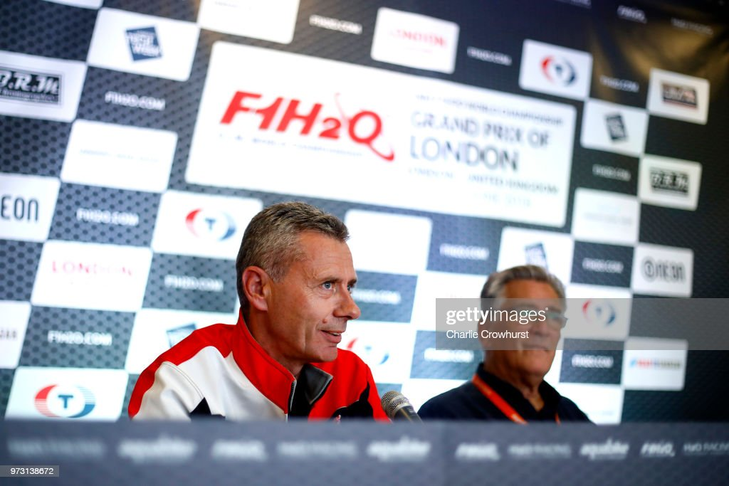 Philippe Chioppe, Pilot chats to media during the World Championship's press conference, ahead of the London Grand Prix, at ExCel on June 13, 2018 in London, England.
