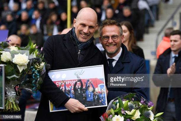 Philippe Clement head coach of Club Brugge and Peter Croonen president of Genk during the Jupiler Pro League match between KRC Genk and Club Brugge...