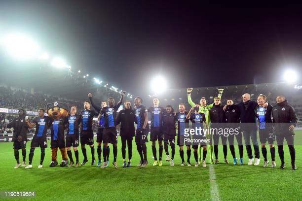 Philippe Clement head coach of Club Brugge celebrating with the players towards the supporters after the victory during the Jupiler Pro League match...
