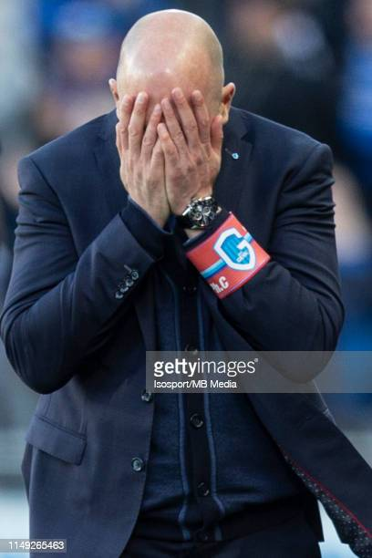 Philippe Clement head coach of Genk looks dejected during the Jupiler Pro League playoff 1 match between Club Brugge and Krc Genk at Jan Breydel...