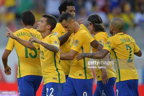 Philippe Couthino and his teammates of Brazil celebrate a scored goal against Haiti during the 2016 Copa America Centenario Group B match between...