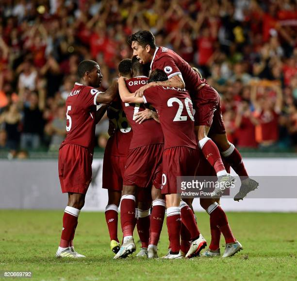Philippe Coutihno of Liverpool celebrates after scoring during the Premier League Asia Trophy match between Liverpool FC and Leicester City FC at the...