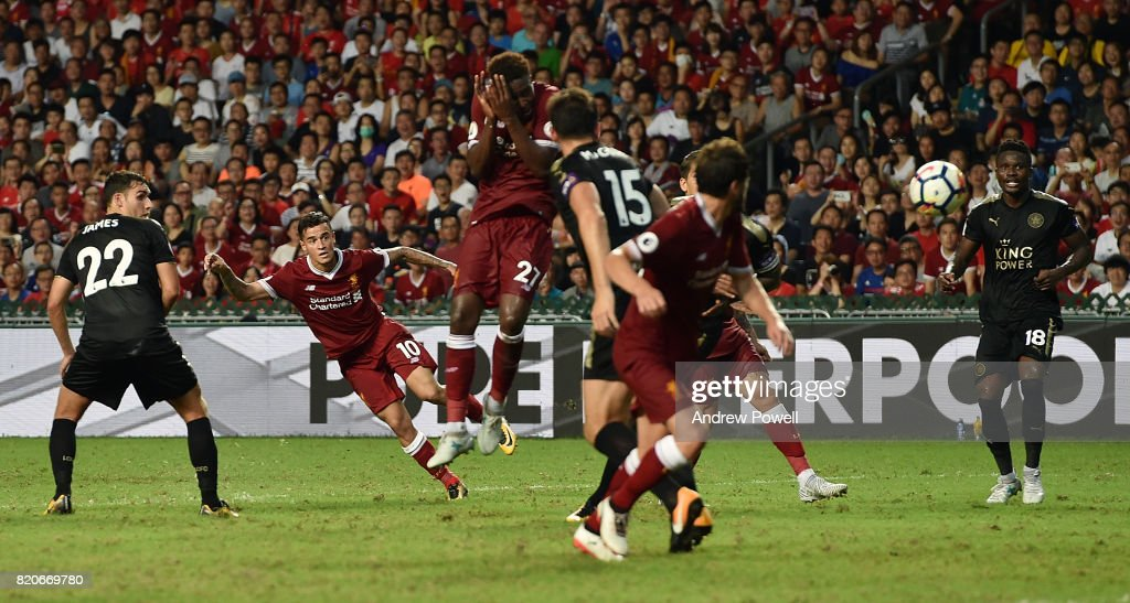 Philippe Coutihno of Liverpool scores the second goal during the Premier League Asia Trophy match between Liverpool FC and Leicester City FC at the Hong Kong Stadium on July 22, 2017 in Hong Kong, Hong Kong.