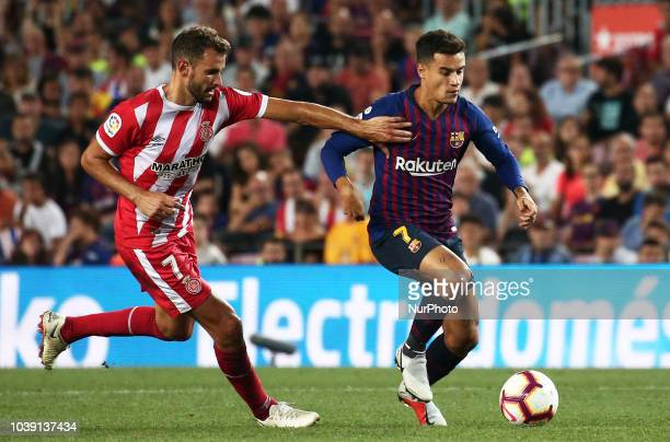 Philippe Coutinho and Christian Stuani during the match between FC Barcelona and Girona FC corresponding to the week 5 of the Liga Santander played...