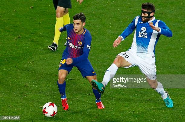 Philippe Coutinho and David Lopez during the Copa del Rey match between FC Barcelona and RCD Espanyol played in Barcelona on January 25 2018
