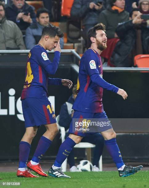 Philippe Coutinho and Leo Messi of FC Barcelona celebrates a goal during the spanish Copa del Rey semifinal second leg match between Valencia CF and...