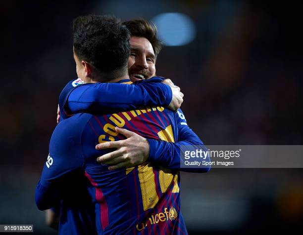 Philippe Coutinho and Lionel Messi of Barcelona celebrates a gol during the Semi Final Second Leg match of the Copa del Rey between Valencia CF and...