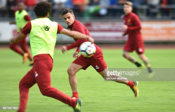 Philippe Coutinho and Mohamed Salah in action during the training camp of British Premier League club FC Liverpool in RottachEgern Germany 28 July...