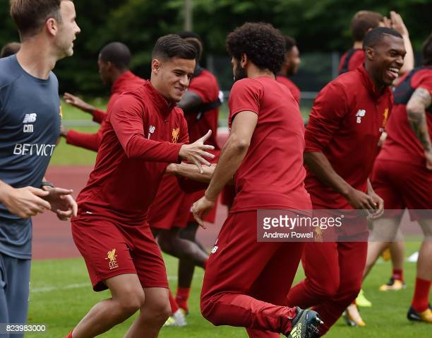 Philippe Coutinho and Mohamed Salah of Liverpool during a training session at RottachEgern on July 28 2017 in Munich Germany