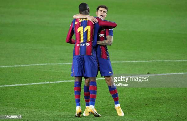 Philippe Coutinho and Ousmane Dembele goal celebration during the match between FC Barcelona and SD Eibar, corresponding to the week 16 of the Liga...