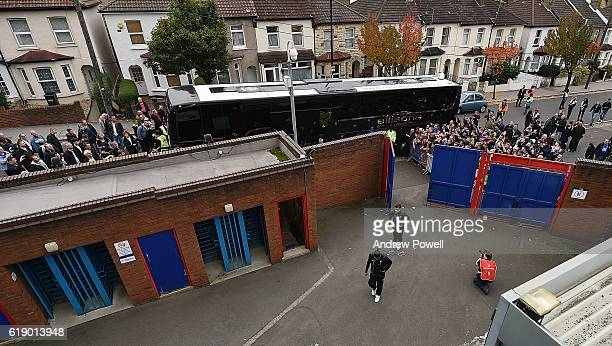 Philippe Coutinho and Roberto Firminoof Liverpool arrives for the Premier League match between Crystal Palace and Liverpool at Selhurst Park on...