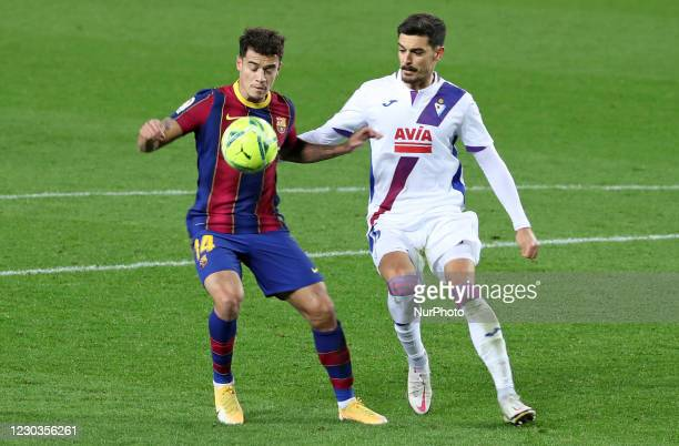 Philippe Coutinho and Sergio Alvarez during the match between FC Barcelona and SD Eibar, corresponding to the week 16 of the Liga Santander, played...
