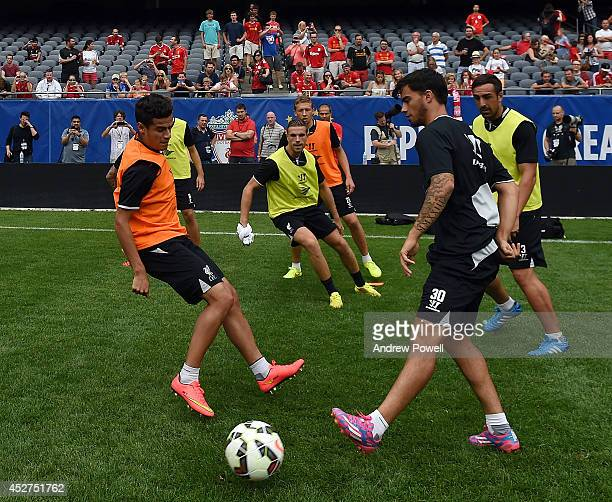 Philippe Coutinho and Suso of Liverpool during a training session before the first game in the Guinness International Champions Cup between Liverpool...