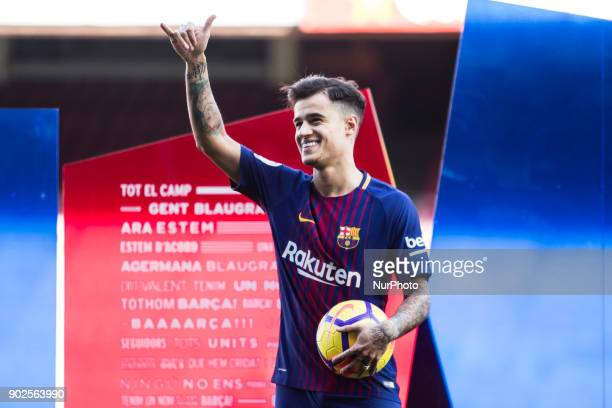 Philippe Coutinho during his official presentation after signing his new contract for 160 million euros till 2022 at Camp Nou Stadium in Barcelona on...