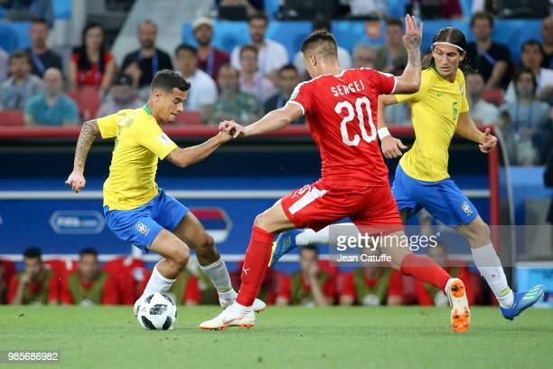 Philippe Coutinho Filipe Luis of Brazil during the 2018 FIFA World Cup Russia group E match between Serbia and Brazil at Spartak Stadium on June 27...