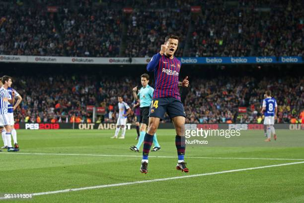 Philippe Coutinho goal celebration during the match between FC Barcelona and Real Sociedad played at the Camp Nou Stadium on 20th May 2018 in...