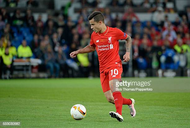 Philippe Coutinho in action for Liverpool during the UEFA Europa League Final match between Liverpool and Sevilla at St JakobPark on May 18 2016 in...