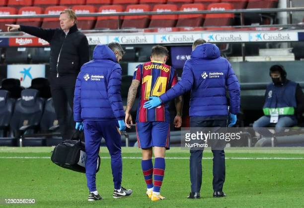 Philippe Coutinho is injured during the match between FC Barcelona and SD Eibar, corresponding to the week 16 of the Liga Santander, played at the...