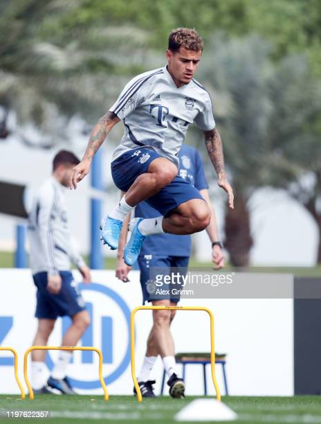 Philippe Coutinho jumps during a training session at Aspire Zone during day two of the FC Bayern Muenchen winter training camp on January 05, 2020 in...