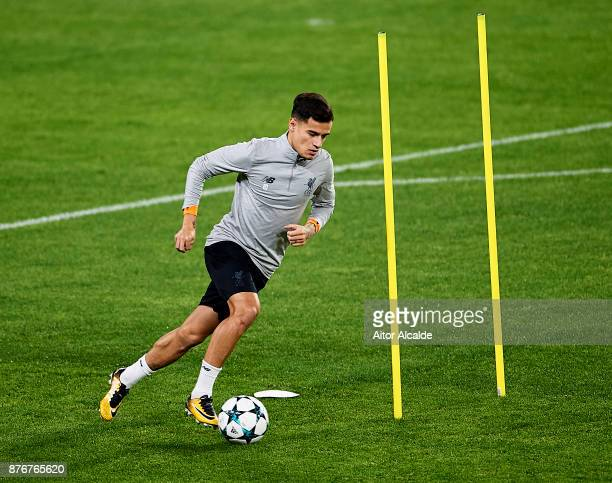 Philippe Coutinho Liverpool FC in action during the training session prior to their Champions League match against Liverpool FC at Estadio Ramon...