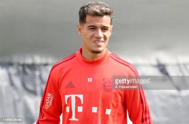 Philippe Coutinho looks on prior to a training session at Saebener Strasse training ground on August 22 2019 in Munich Germany