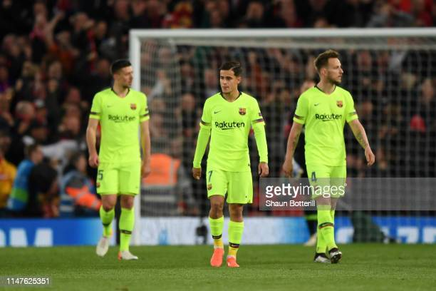 Philippe Coutinho of Barcelona and Ivan Rakitic of Barcelona look dejected during the UEFA Champions League Semi Final second leg match between...
