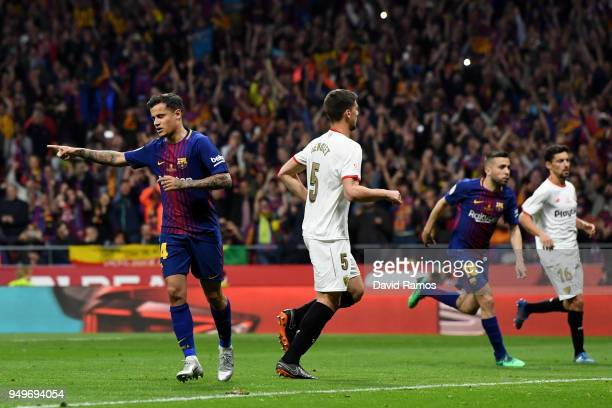 Philippe Coutinho of Barcelona celebrates after he scores from the spot for the teams fifth goal during the Spanish Copa del Rey match between...