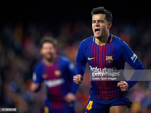 Philippe Coutinho of Barcelona celebrates after scoring a goal during the Semi Final Second Leg match of the Copa del Rey between Valencia CF and FC...