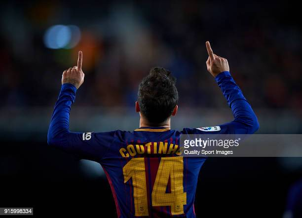 Philippe Coutinho of Barcelona celebrates after scoring a gol during the Semi Final Second Leg match of the Copa del Rey between Valencia CF and FC...