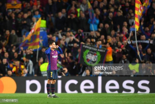 Philippe Coutinho of Barcelona celebrates after scoring his team's third goal during the UEFA Champions League Quarter Final second leg match between...