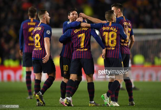 Philippe Coutinho of Barcelona celebrates after scoring his team's third goal with Arthur Lionel Messi and Jordi Alba of Barcelona during the UEFA...